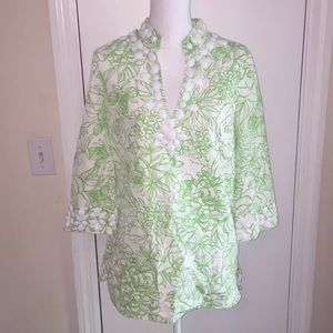 Lilly Pulitzer tunic green &white with bead detail